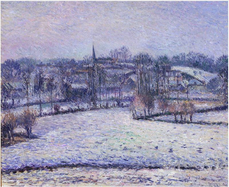 Camille Jacob Pissarro, Snow Scene at Eragny (View of Bazincourt)