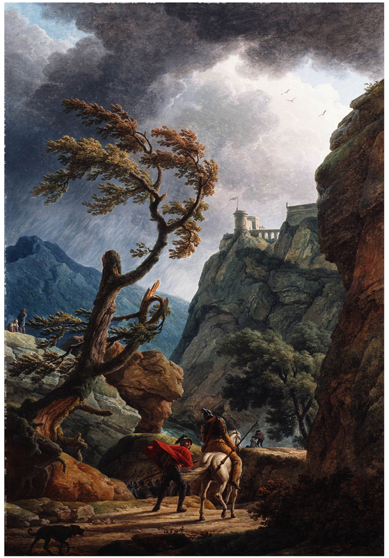 Claude-Joseph Vernet, Soldiers In a Mountain Gorge, With Storm (1798)